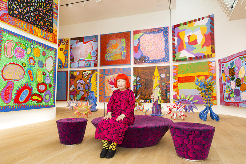 Yayoi Kusama with recent works in Tokyo, 2016, Courtesy of the artist