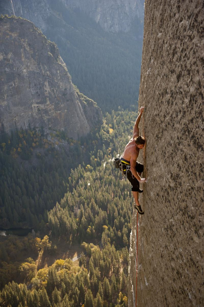 Tommy Caldwell making his way up the Dawn Wall.