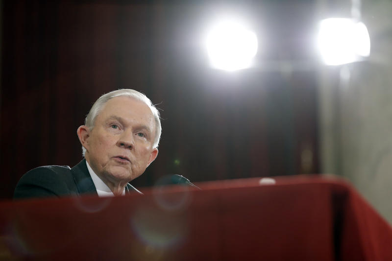 Attorney General Jeff Sessions testifies on Capitol Hill in Washington, Tuesday, Jan. 10, 2017, at his confirmation hearing before the Senate Judiciary Committee.