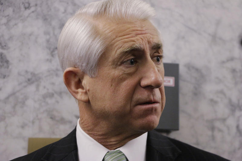 Rep. Dave Reichert, R-Wash., speaks with the media after testifying before the Senate Law and Justice Committee about Green River serial killer Gary Ridgway on Friday, Nov. 20, 2015, in Olympia, Wash.