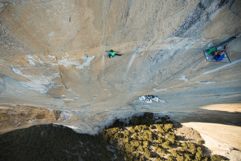 Tommy Caldwell half way up the Dawn Wall.