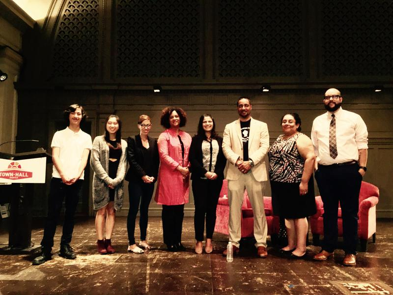 Left to right: Sage Cook, Christina Joo, Kristin Leong, Joy Williamson-Lott, Saraswati Noel, Jesse Hagopian, Sharonne Navas and Nathan Simoneaux at Town Hall Seattle