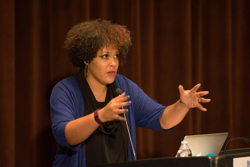 Ijeoma Oluo speaks at the 'Interrupting Whiteness' event held at the Seattle Central Library on June 1.