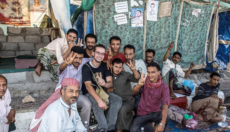 Luke Somers, second from left, with friends in Yemen. He was killed in 2014.