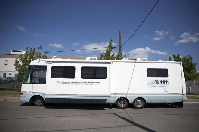 The advocates for Immigrants in Detention Northwest R.V., also known as the Welcome Center, is shown parked outside of the Northwest Detention Center on Wednesday, June 21, 2017, in Tacoma, Washington.