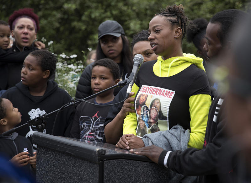 Tiffany Rogers, a sister of Charleena Lyles, speaks during a vigil on Tuesday, June 19, 2017, at Solid Ground Brettler Family Place, in Seattle, Washington.