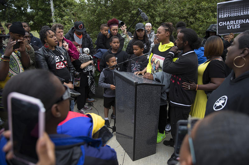 A sister of Charleena Lyles, Tiffany Rogers, speaks during a press conference and vigil on Tuesday, June 19, 2017, at the Solid Ground Brettler Family Place, in Seattle, Washington.