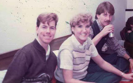 The author, left, in high school.