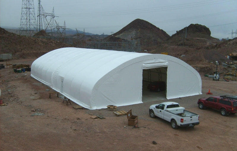 Tacoma's new outdoor shelter is similar to this fabric tent. It will hold private tents, showers and other services for more than 65 residents.