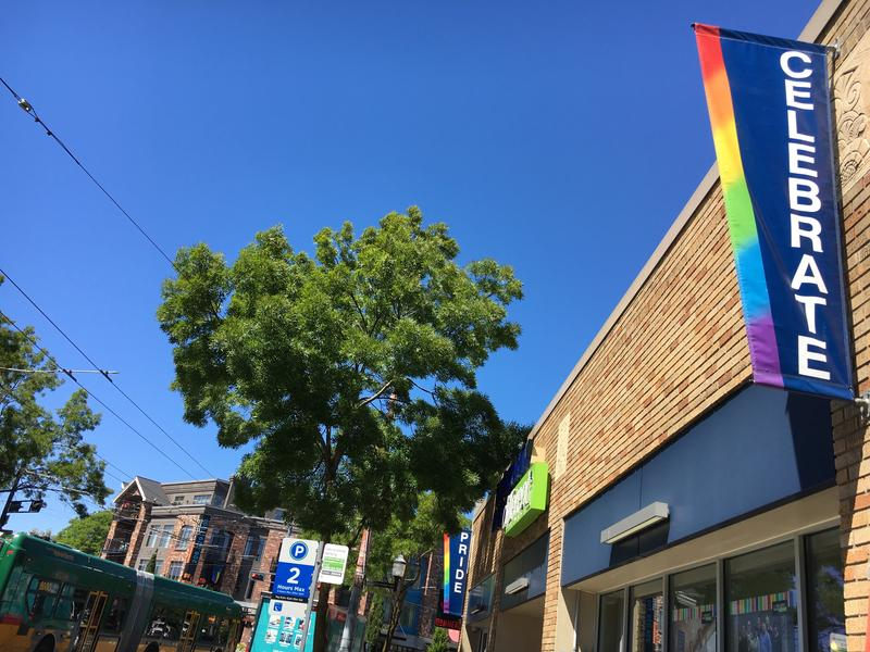 Streets signs on Broadway in Capitol Hill, where Seattle's PrideFest is taking on a neighborhood event Saturday.