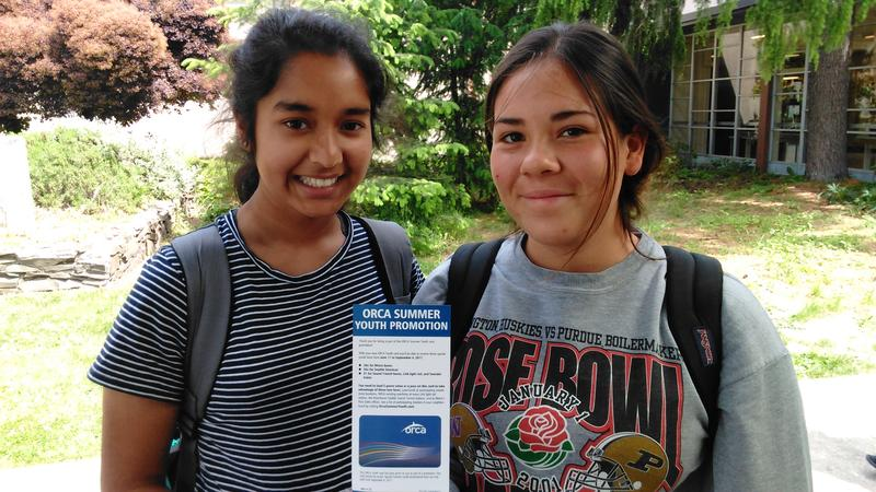 Ingraham High students Anokhi Shah and Lucia Lari are excited to get disounted fares on King County Metro and Sound Transit