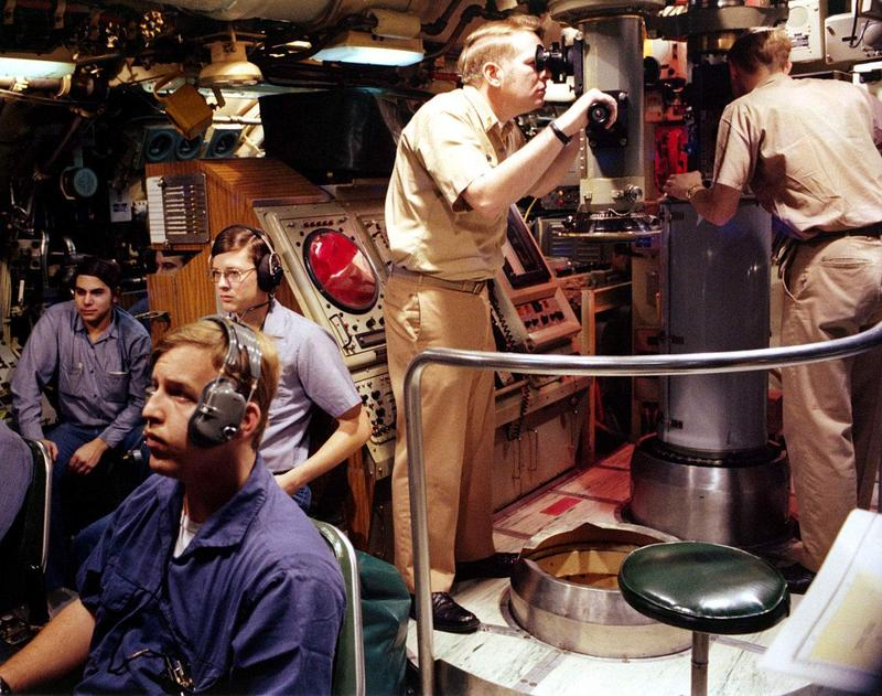 The crew of an unidentified 'sturgeon class' submarine like the U.S.S. Parche, in 1980