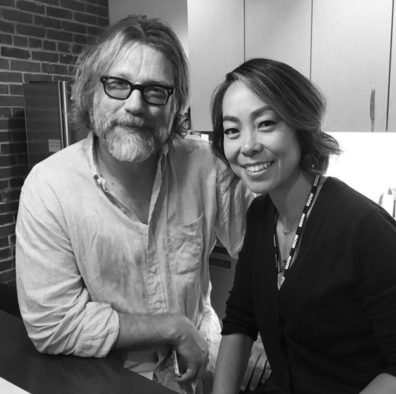 John Roderick aka King Neptune and Angela Shen who is Queen Alcyone in the KUOW greenroom