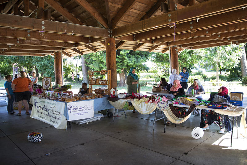 Vendors are shown at the Kent East Hill Farmer's Market on Friday, June 30, 2017, at Morrill Meadows Park in Kent.