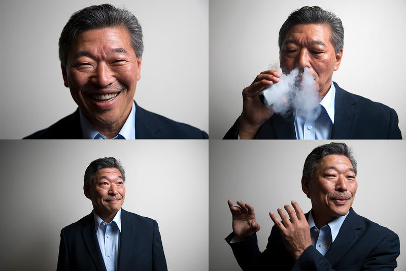 Yes, Bob Hasegawa, sitting Washington state senator and candidate for Seattle mayor, vaped for this photo.