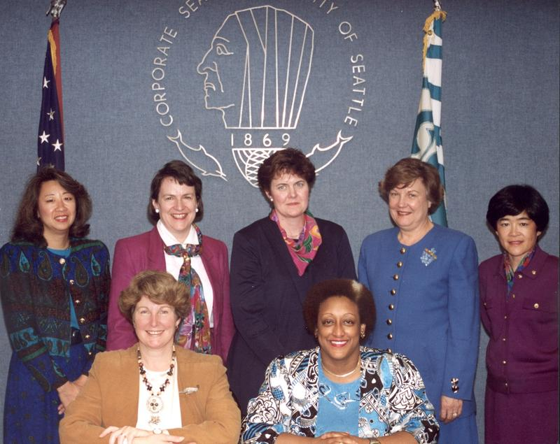 The women of the Seattle City Council in 1994. Standing L to R: Martha Choe, Margaret Pageler, Sue Donaldson, Jan Drago, Cheryl Chow. Seated L to R: Jane Noland, Sherry Harris.