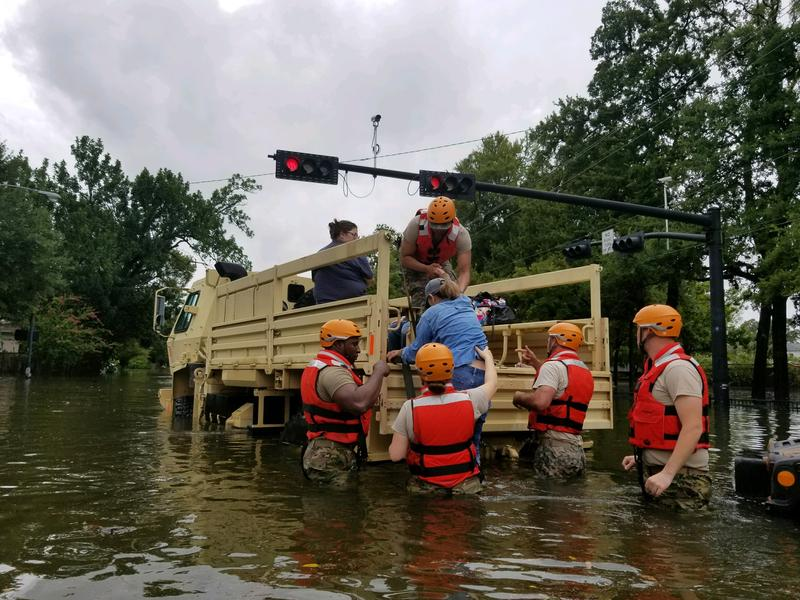Texas National Guard soldiers conduct rescue operations in flooded areas around Houston, Texas 27 August, 2017. (Photo by 1Lt. Zachary West, 100th MPAD)