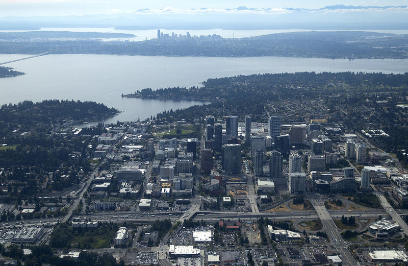 Bellevue and Seattle in the distance from Jeremy Noble's Cessna 182 airplane during his evening commute on Wednesday, August 23, 2017.