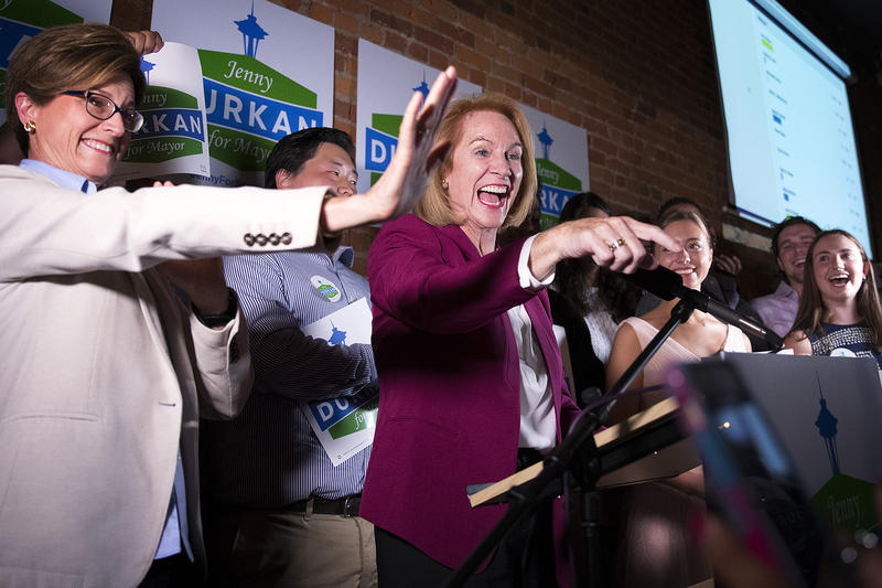 Jenny Durkan, former U.S. attorney, was ahead in the mayor's race with 30.6 percent of the initial vote.