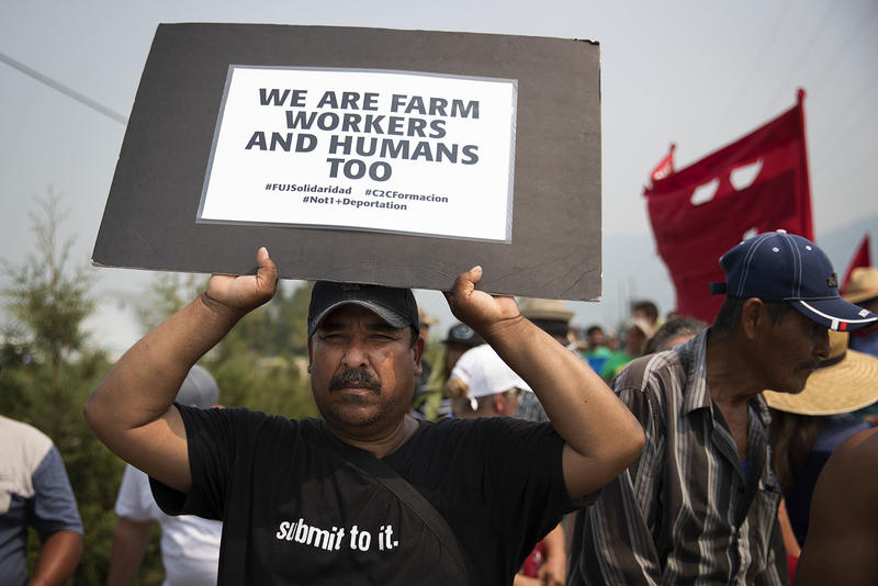 Antonio Garcia marches with other farm workers on Wednesday, August 8, 2017, on Rock Road toward Sarbanand Farms in Sumas, Washington.