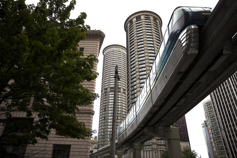The Monorail approaches Westlake Center on Wednesday, August 30, 2017, in Seattle. The ride is 1.2 miles between Queen Anne and downtown.