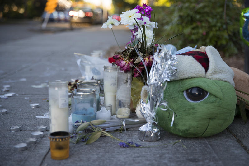 A memorial for Stephan Stewart is shown along Oregon St., one block from the Rainier Community Center. Stewart was shot and killed on Friday, July 14, 2017.