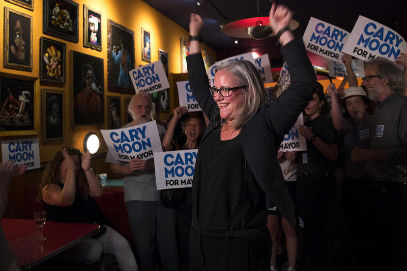 Cary Moon celebrates her number 2 spot for the Seattle mayoral race on primary night. Moon had 15.6 percent of the first batch of returns.