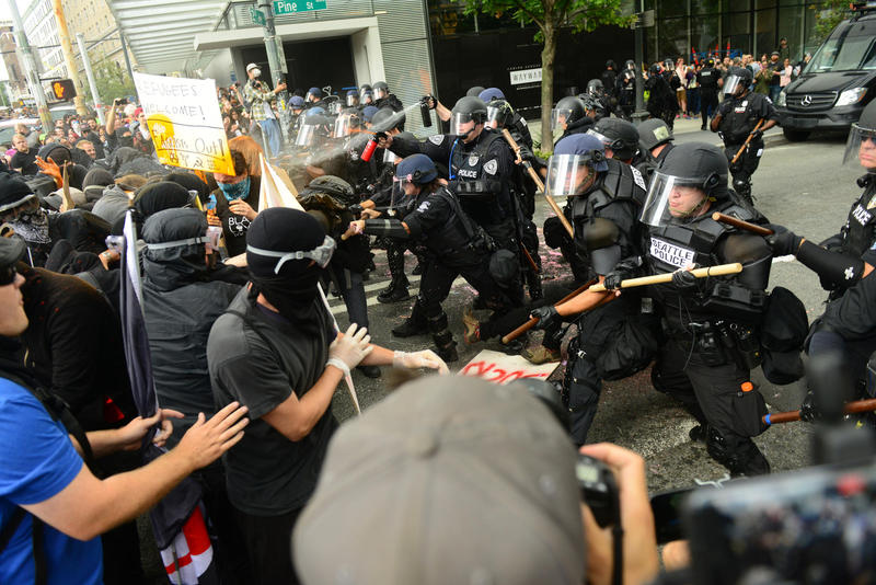 Seattle Police clashed with anti-fascist marchers at 2nd Ave. and Pine St., Seattle, August 13, 2017.