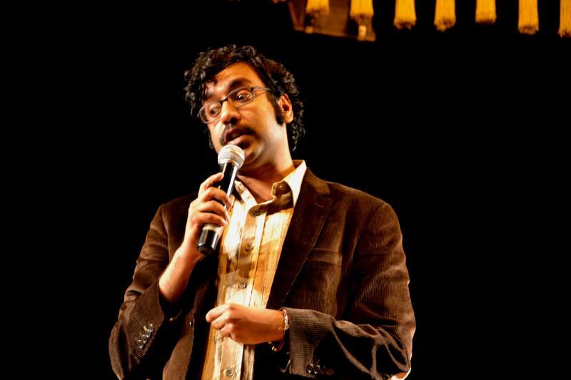Comedian Hari Kondabolu at the Museum Theatre in Chennai on January 5, 2012.