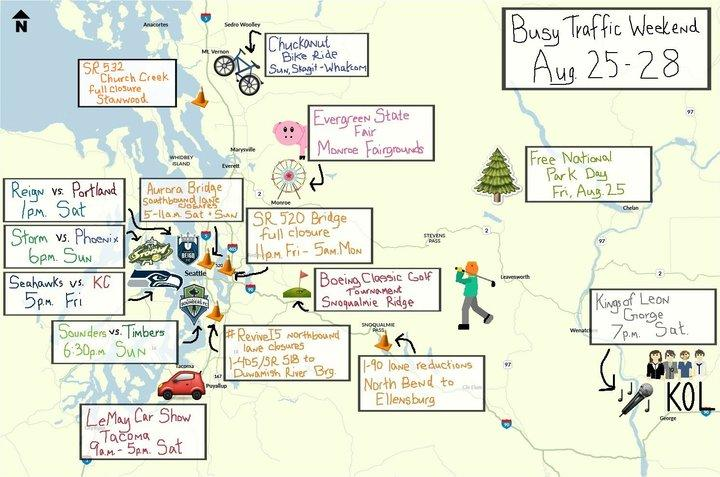 WSDOT tweets out a hand drawn map similar to this one every week to give communters a heads up on weekend traffic woes. This map was created by Ally Barrera.