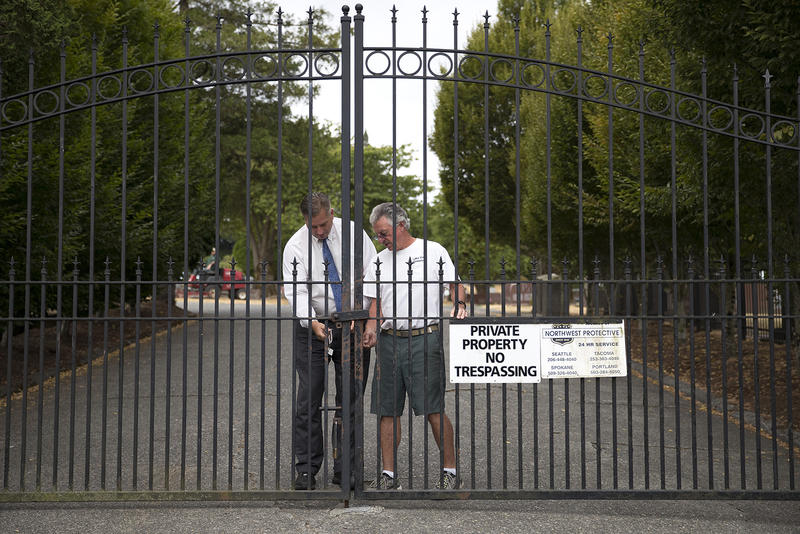 The gates are locked at Lake View Cemetery on Thursday, August 17, 2017, in Seattle, where a monument to the Confederacy has become controversial after protests turned violent in Charlottesville last weekend.