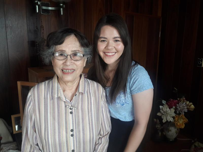 Natalie Newcomb (right) with her Achan, her grandmother Kazuko Nita, in Japan.