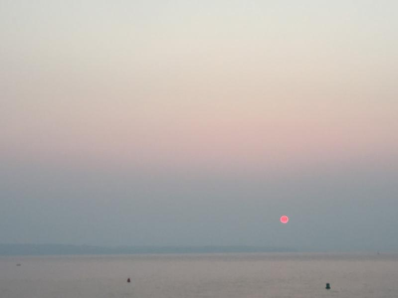 A smoky sunset in Seattle on Thursday evening.