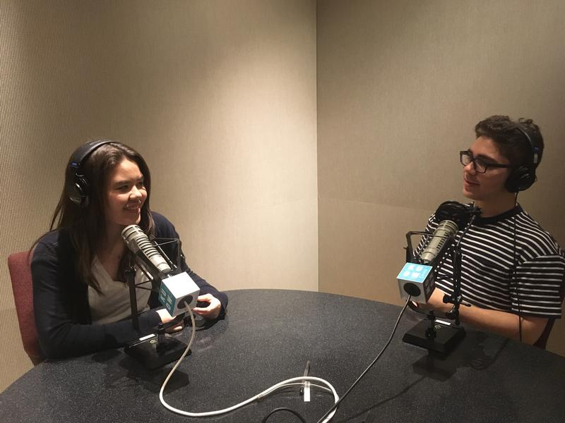 RadioActive's Natalie Newcomb (L) and Jad Vianu hosting this podcast