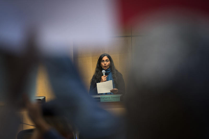 Councilmember Kshama Sawant explains why she did not vote in favor of councilmember Lorena Gonzalez's nomination of Tim Burgess to become the interim mayor of Seattle, on Monday, September 18, 2017, at City Hall in Seattle.