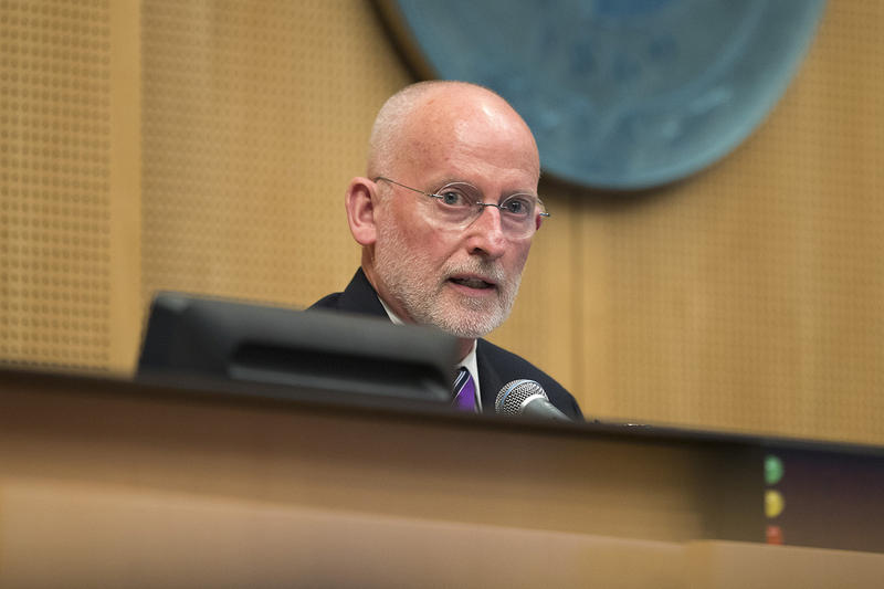 Councilmember Tim Burgess speaks after accepting a nomination from council member Lorena Gonzalez to become the intern mayor of Seattle, during a city council meeting on Monday, September 18, 2017, at City Hall in Seattle.