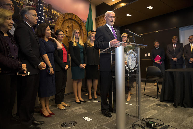 Mayor Tim Burgess answers questions on Monday, September 18, 2017, after taking the oath of office and becoming the mayor of Seattle, at City Hall in Seattle.