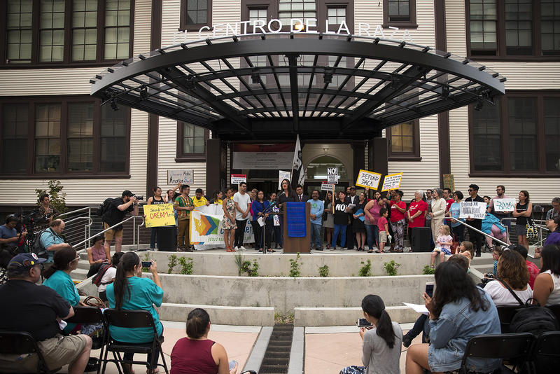 Councilmember Lorena Gonzales speaks during a community rally in support of DACA recipients on Tuesday.