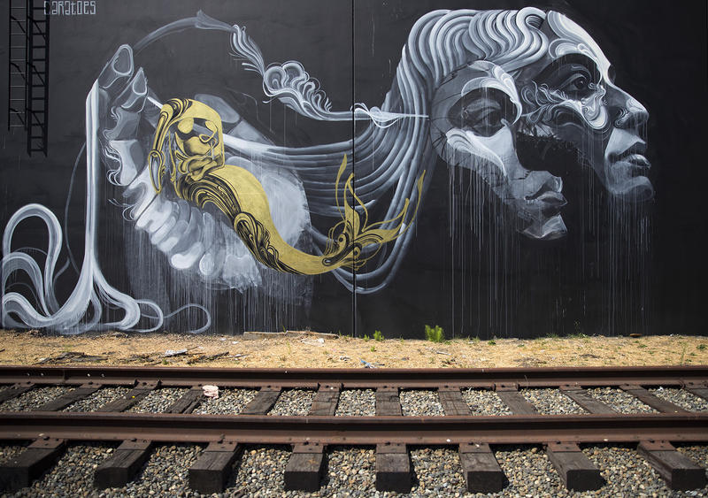 A mural painted by artist Caratoes is shown on Tuesday, August 15, 2017, along the Sodo Track in Seattle.