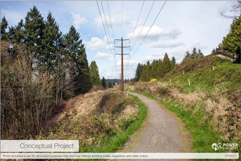 Conceptual photo of high-voltage power lines running through Bellevue, as proposed by Puget Sound Energy.