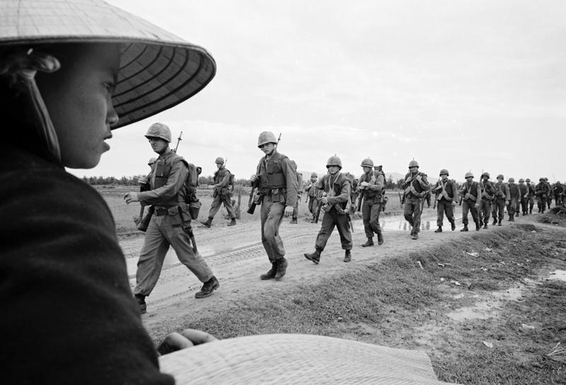 Marines marching in Danang. March 15, 1965.