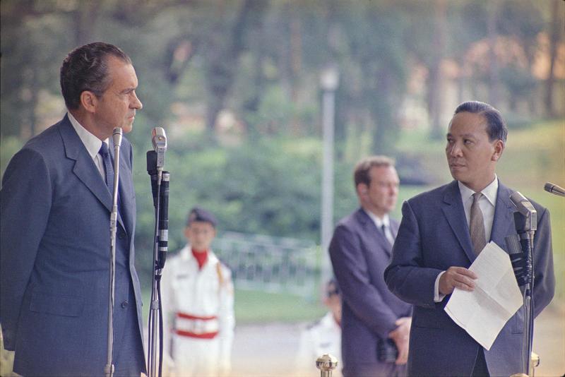 President Richard Nixon and South Vietnamese President Nguyen Van Thieu in Saigon, 1969.