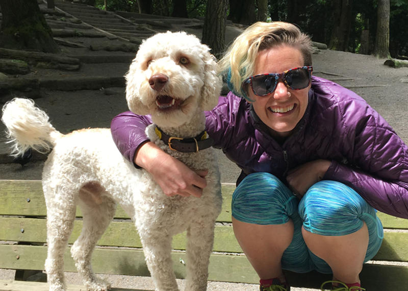 Ashley Ahearn with her dog Burnaby