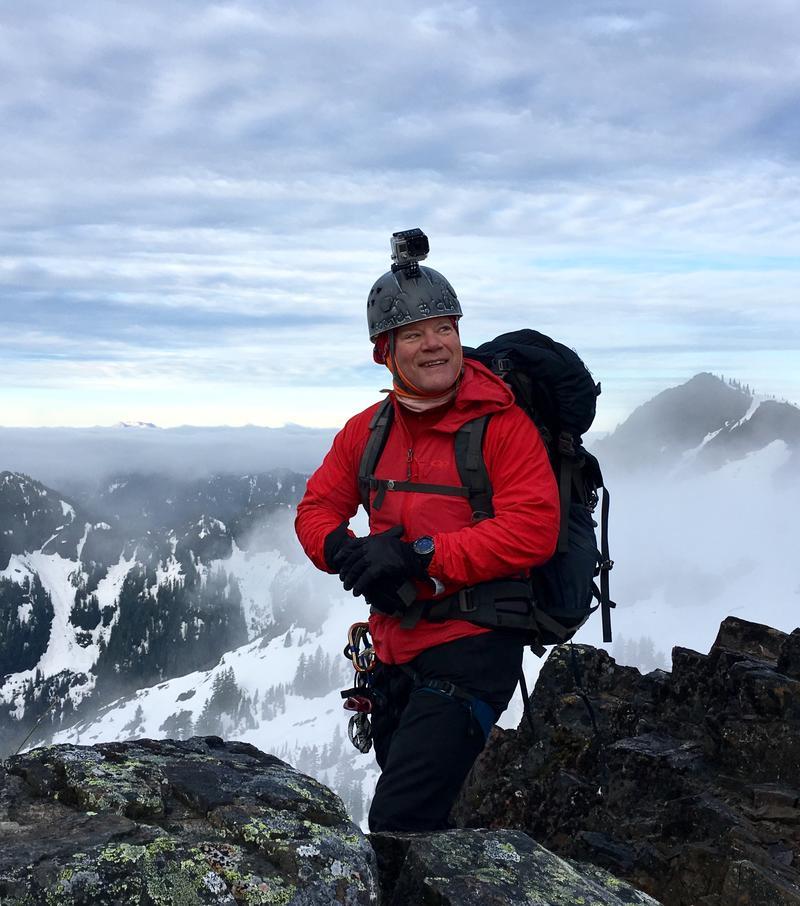 Darrell Smart climbing in the Tatoosh Range in Mt. Rainier National Park.