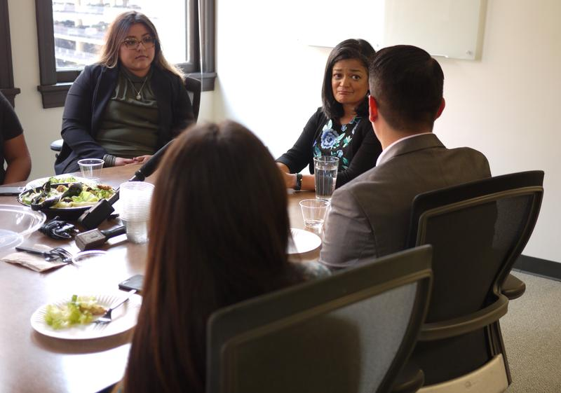 Rep. Pramila Jayapal (D-Wash.) meets with DACA recipients in Seattle on September 4, 2017