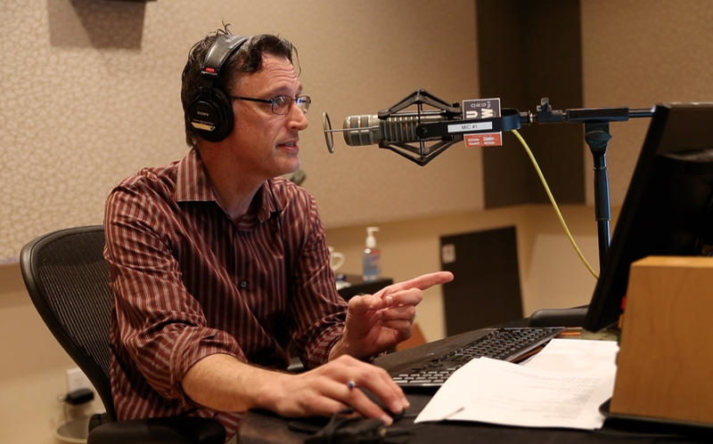 Bill Radke, host of the Record, reads an apology on air on Friday, Sept. 22.