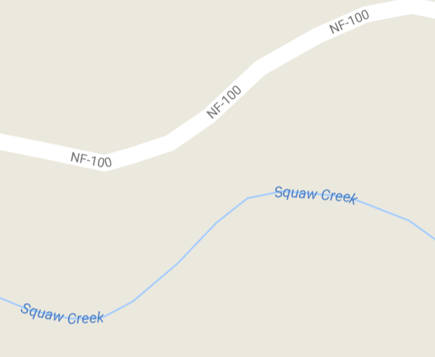 """Squaw Creek"" is southwest of the town of Methow in Eastern Washington. Screenshot from Google Maps."