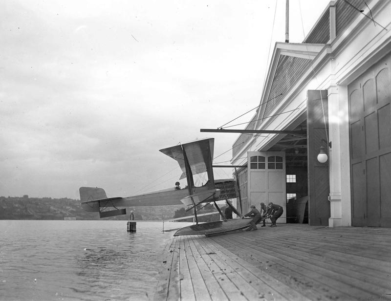 The first Boeing airplane, the Bluebill, B&W Model 1, assembled and launched from Seattle's Lake Union