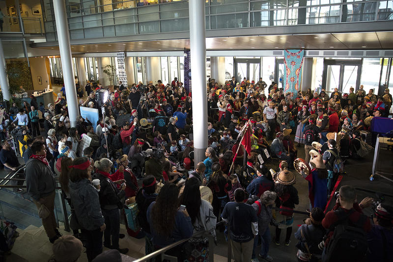 People fill Seattle City Hall during the Indigenous Peoples' Day march and celebration on Monday, October 9, 2017, on 5th Ave., in Seattle.