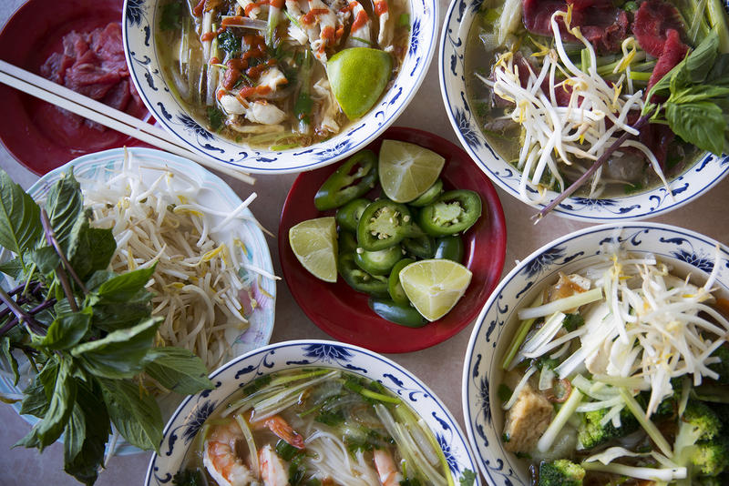 "An assortment of different pho dishes are shown on Tuesday, August 15, 2017, at Pho Bac on S. Jackson St., in Seattle. ""Pho is how you make it, you can add or subtract anything you want,"" said Yenvy Pham, owner of Pho Bac."